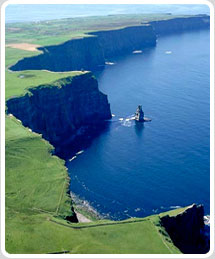 Aerial view over Cliffs of Moher